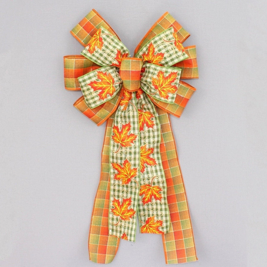Maple Leaf Gingham Fall Plaid Wreath Bow