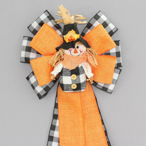 Buffalo Plaid Orange Scarecrow Fall Wreath Bow