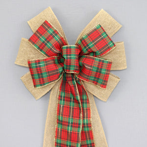Tartan Plaid Burlap Christmas Wreath Bow