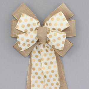 Natural Gold Dot Wreath Bow