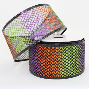 10 yards Ombre Sparkle Mesh Halloween Wire Edge Ribbon