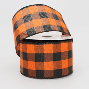 10 yards Orange Black Buffalo Plaid Halloween Wired Ribbon