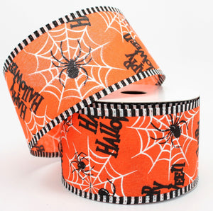 10 yards Happy Halloween Spider Wired Ribbon