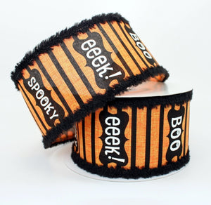10 yards Halloween Script Chenille Wired Edge Ribbon