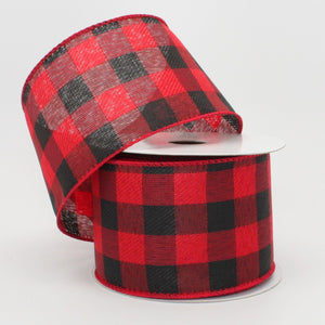 10 yards Red Black Buffalo Plaid Christmas Wired Ribbon