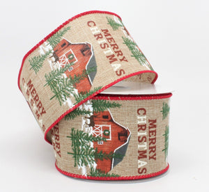 10 yards Merry Christmas Rustic Barn Wired Ribbon