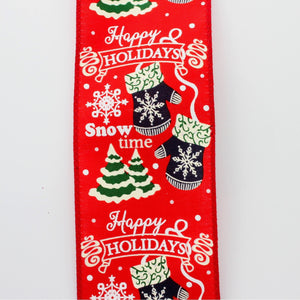 10 yards Happy Holidays Snowflake Mittens Christmas Wired Ribbon