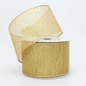 10 yards Gold Metallic Christmas Wired Ribbon