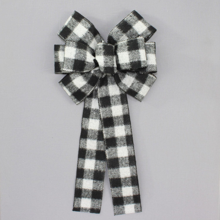 Black White Buffalo Flannel Plaid Christmas Bow