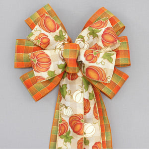Fall Pumpkin Buffalo Plaid Wreath Bow