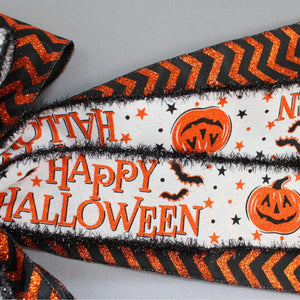 Happy Halloween Festive Chevron Wreath Bow