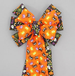 Funky Spiders Fun Halloween Wreath Bow