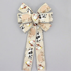 Barn Animals Country Wreath Bow
