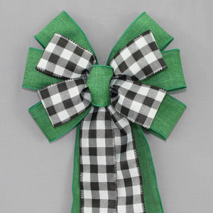 Black White Buffalo Plaid Green Christmas Wreath Bow