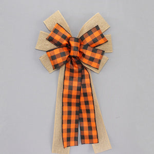 Black Orange Buffalo Plaid Burlap Wreath Bow