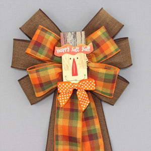 Happy Fall Ya'll Scarecrow Wreath Bow