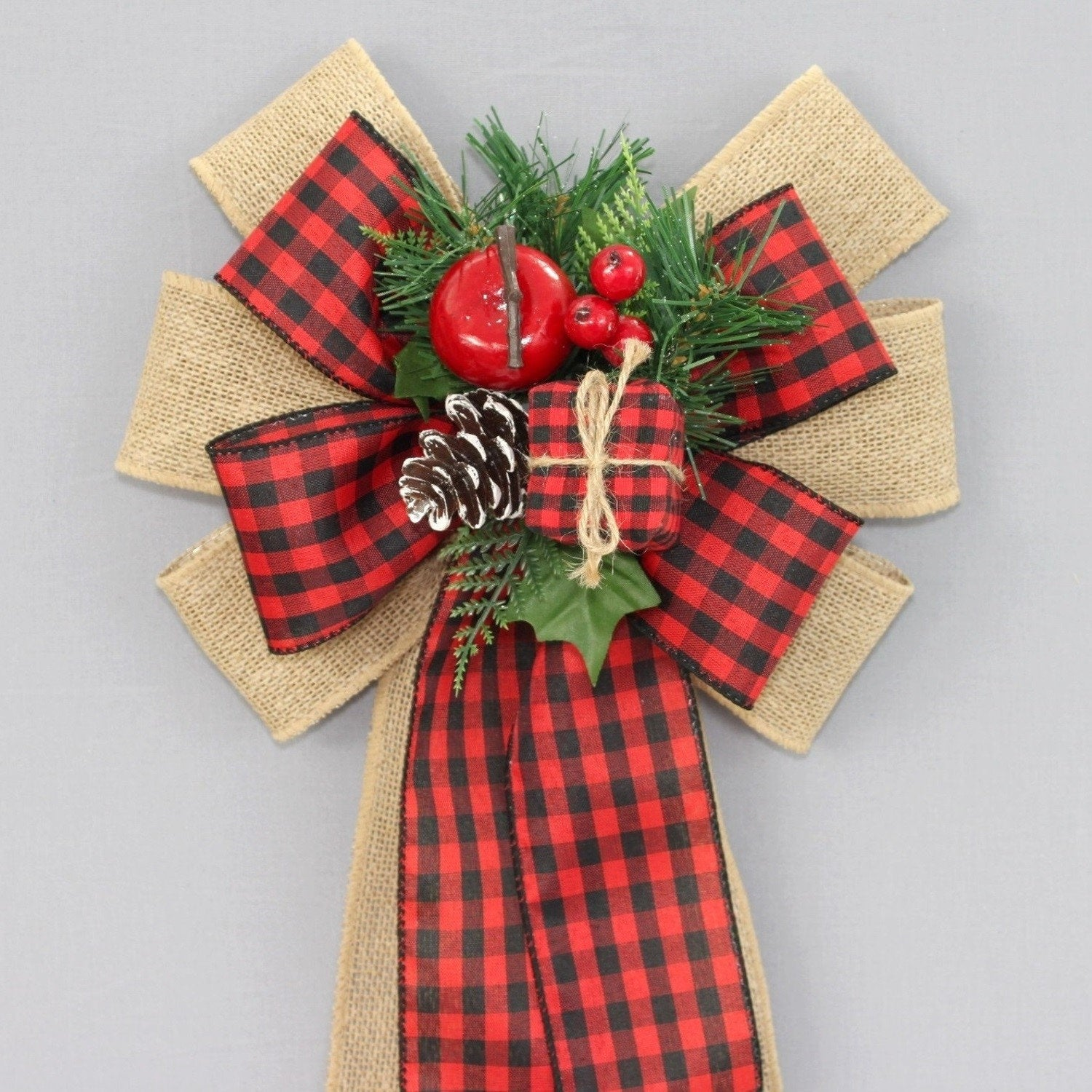 Buffalo Check Christmas Wreath.Buffalo Check Burlap Pinecone Christmas Wreath Bow