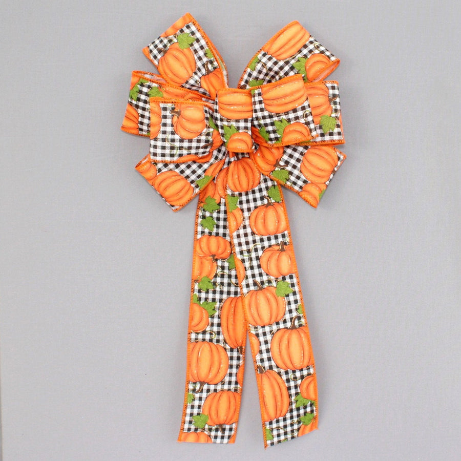 Black Check Fall Pumpkin Wreath Bow