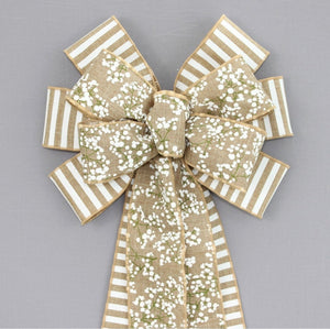 Baby's Breath White Stripe Wreath Bow