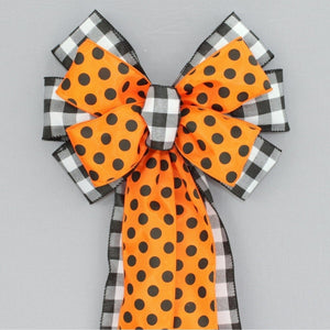 Buffalo Plaid Halloween Polka Dot Wreath Bow
