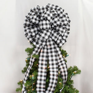 Black White Buffalo Plaid Christmas Tree Topper Bow