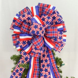 Patriotic Stars Plaid Christmas Tree Bow