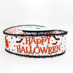 10 yards Happy Halloween Pumpkin Chenille Wired Ribbon
