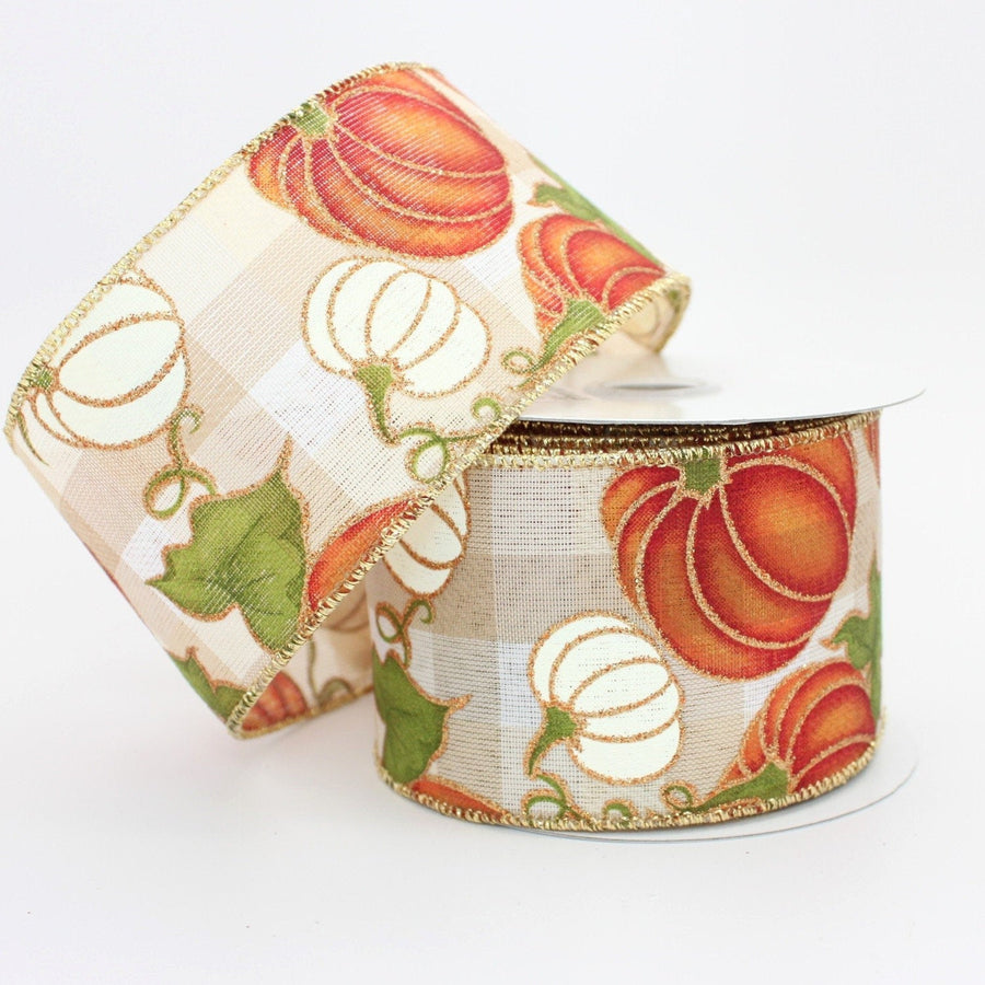 10 yards Ivory Plaid Pumpkins Fall Wired Ribbon