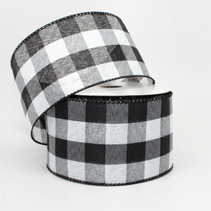 10 yards Black White Buffalo Plaid Wired Ribbon