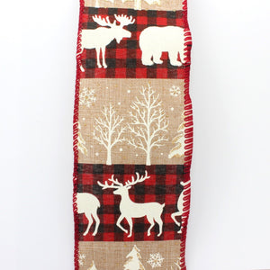 10 yards Buffalo Plaid Deer Rustic Stripe Christmas Wired Ribbon