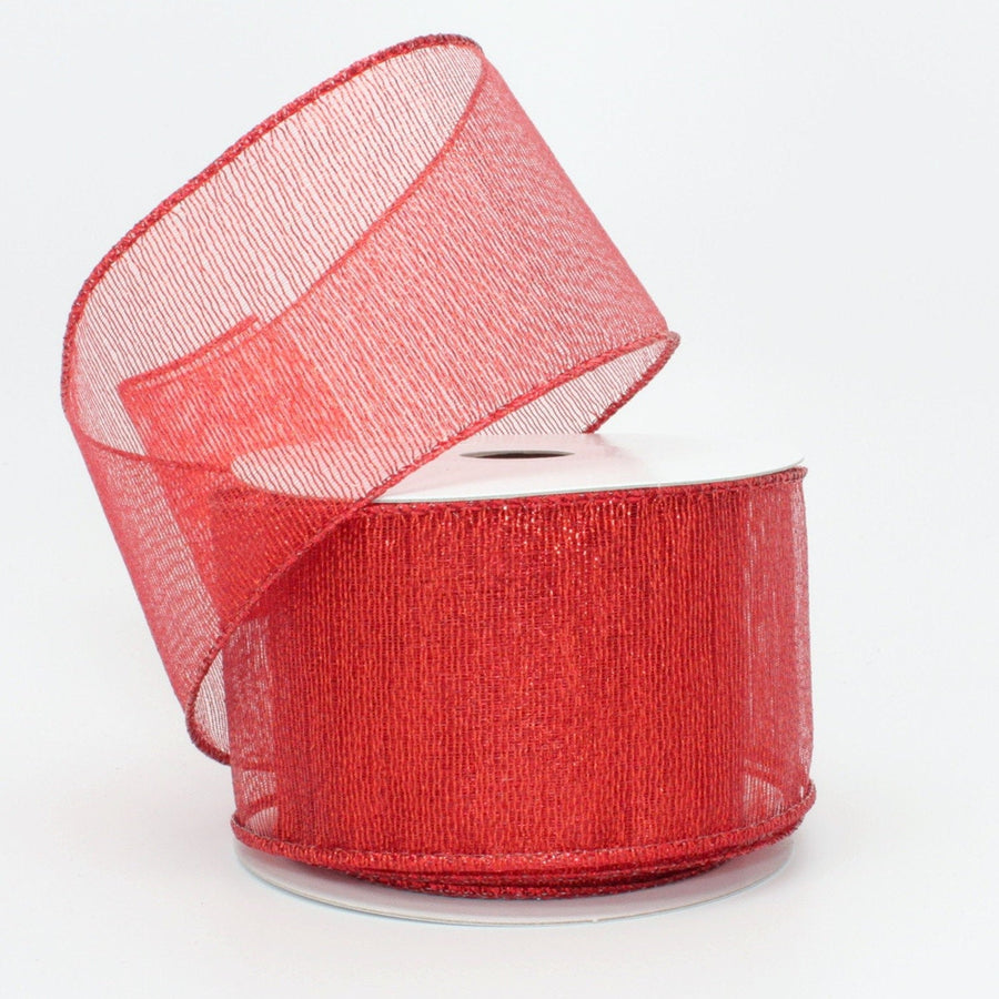 10 yards Red Metallic Christmas Wired Ribbon