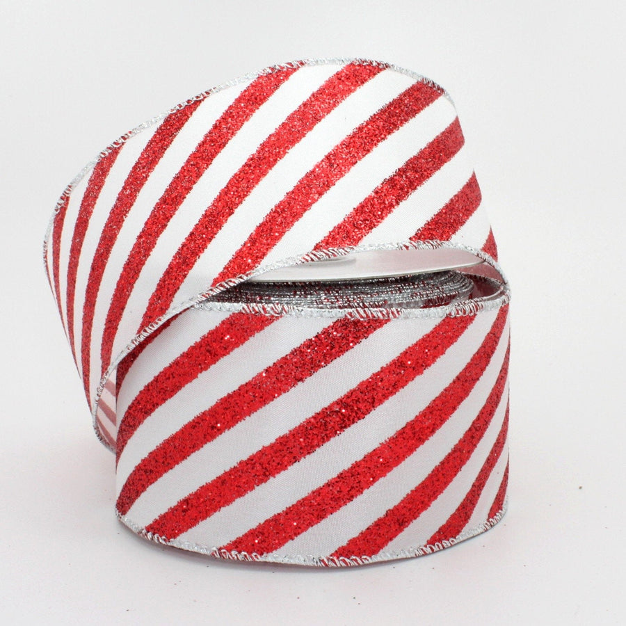 10 yards Candy Cane Sparkle Stripe Christmas Wired Ribbon