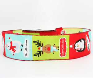 10 yards Festive Christmas Animals Wired Ribbon