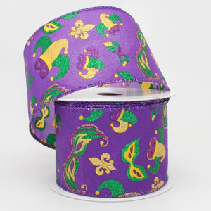 10 yards Mardi Gras Icons Wired Edge Ribbon