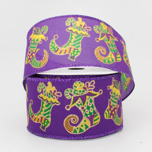 10 yards Mardi Gras Jester Stockings Wired Edge Ribbon