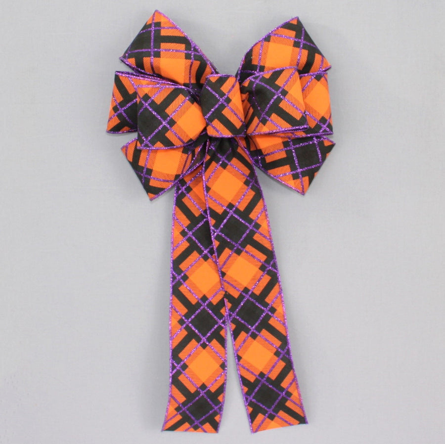 Diagonal Plaid Halloween Wreath Bow