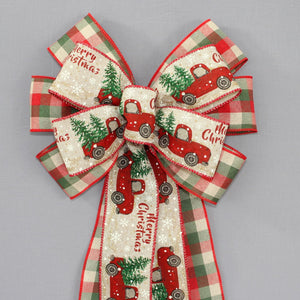 Red Truck Buffalo Plaid Rustic Christmas Wreath Bow