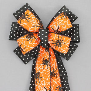 Festive Dot Stripe Halloween Wreath Bow