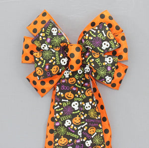 Fun Halloween Polka Dot Wreath Bow