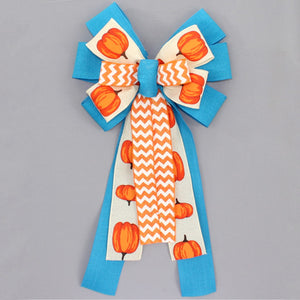 Fall Pumpkin Turquoise Chevron Wreath Bow