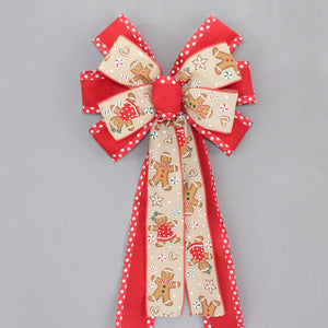 Gingerbread Red Dot Christmas Wreath Bow