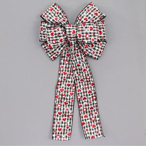 Sparkle Hearts Buffalo Plaid Gingham Valentine's Day Bow