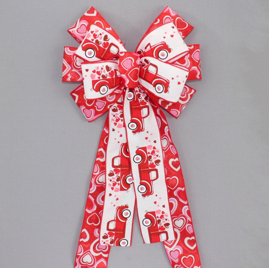 Red Truck Floating Hearts Valentine's Day Wreath Bow