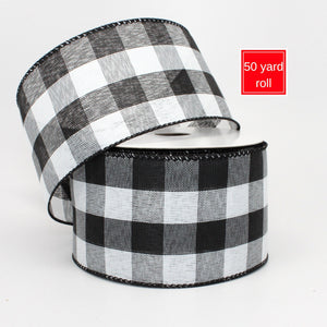 50 yards Black White Buffalo Plaid Christmas Wired Ribbon