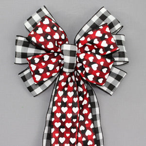 Buffalo Plaid Hearts Valentine's Day Wreath Bow