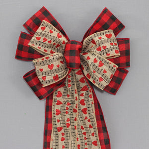 Buffalo Plaid Music Notes Valentine's Day Wreath Bow