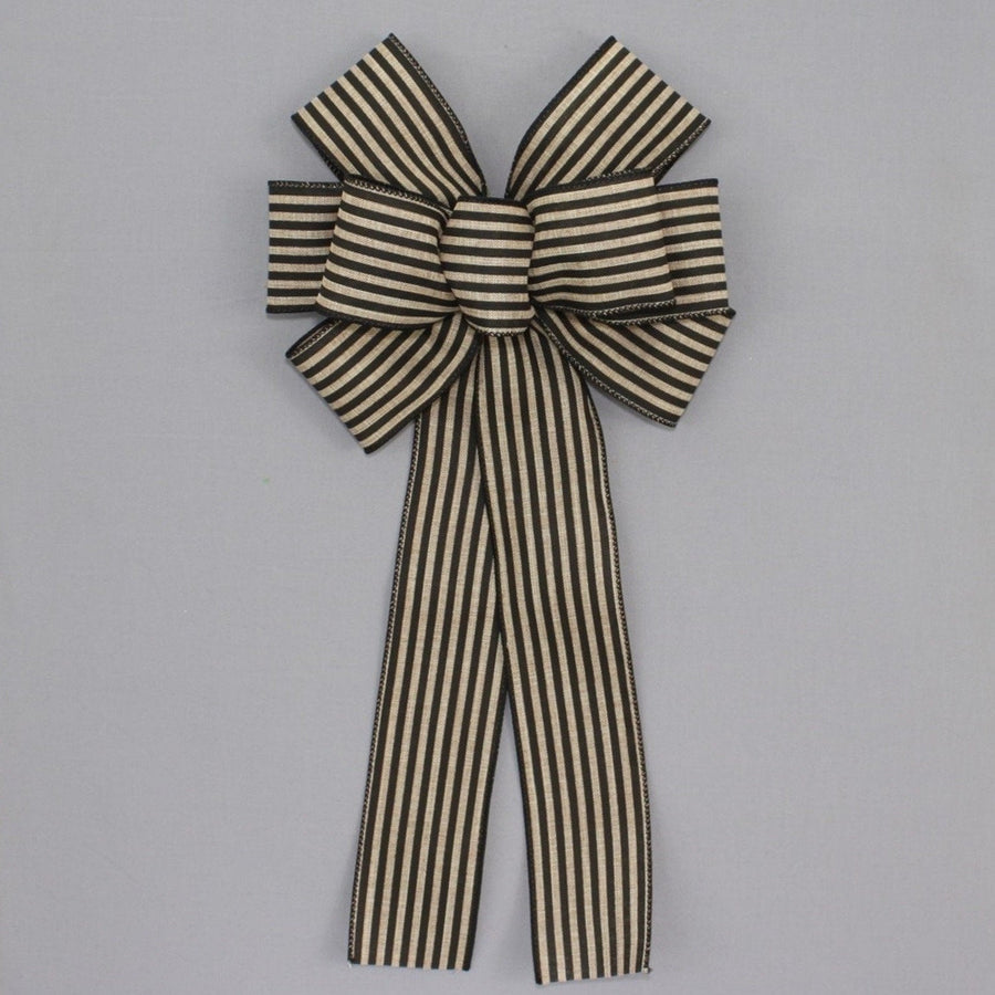 Black Natural Cabana Stripe Rustic Wreath Bow
