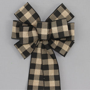 Black Natural Striped Buffalo Plaid Wreath Bow