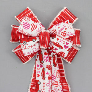 Festive Red Truck Valentine's Day Wreath Bow