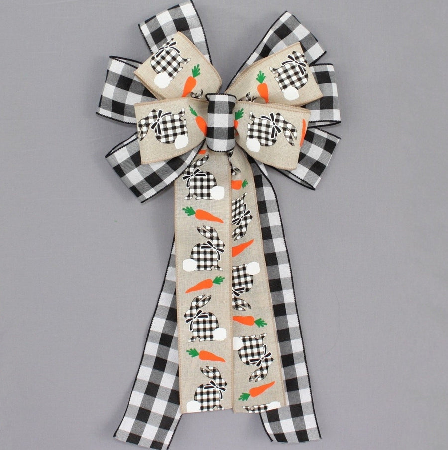 Buffalo Plaid Easter Bunny Wreath Bow